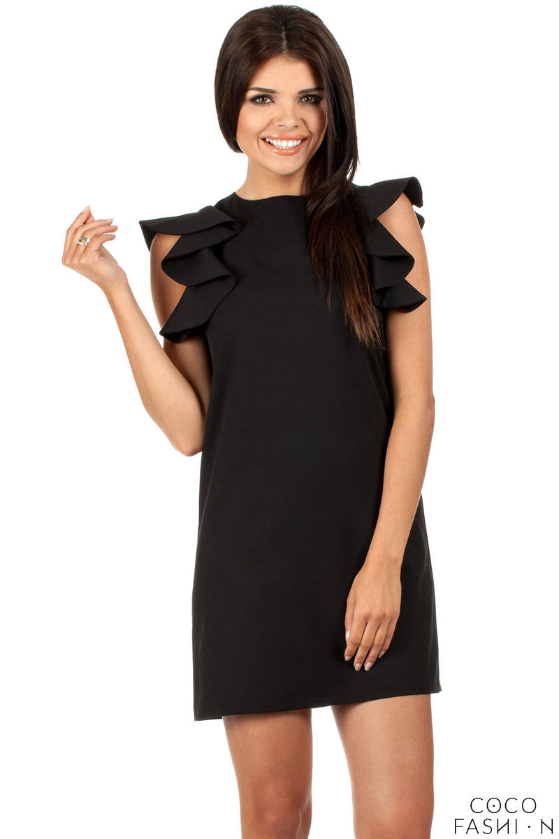 Black High Neck Shift Dress with Waterfall Shoulders