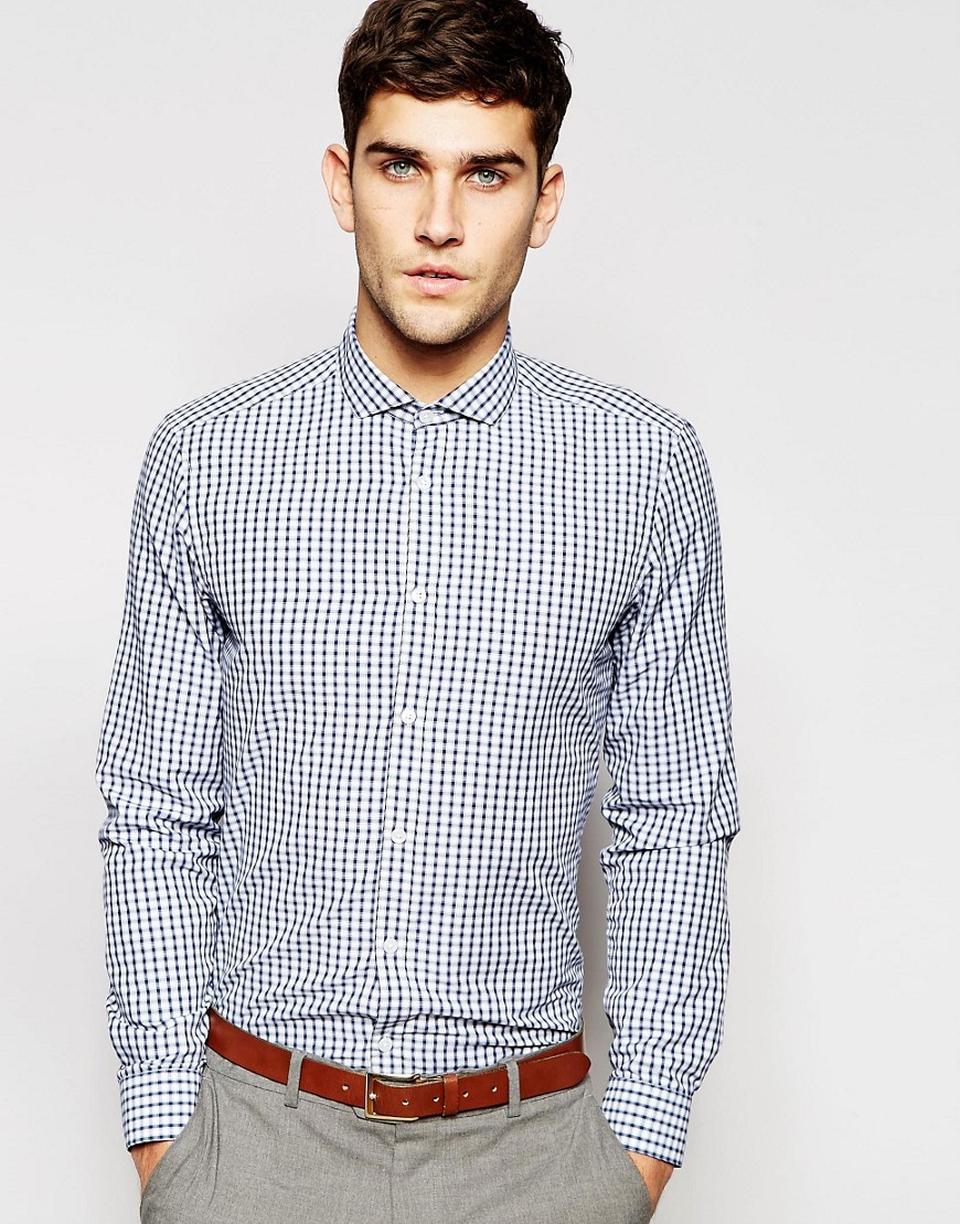 Camisa de vestir de manga larga con estampado de cuadros sombreados de ASOS