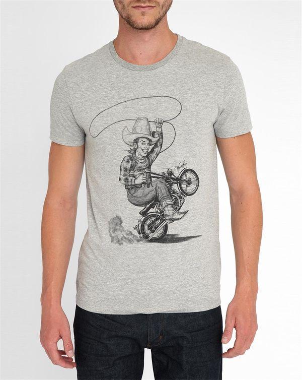 WRANGLER, Light-Grey Cowboy Print Round-Neck T-Shirt