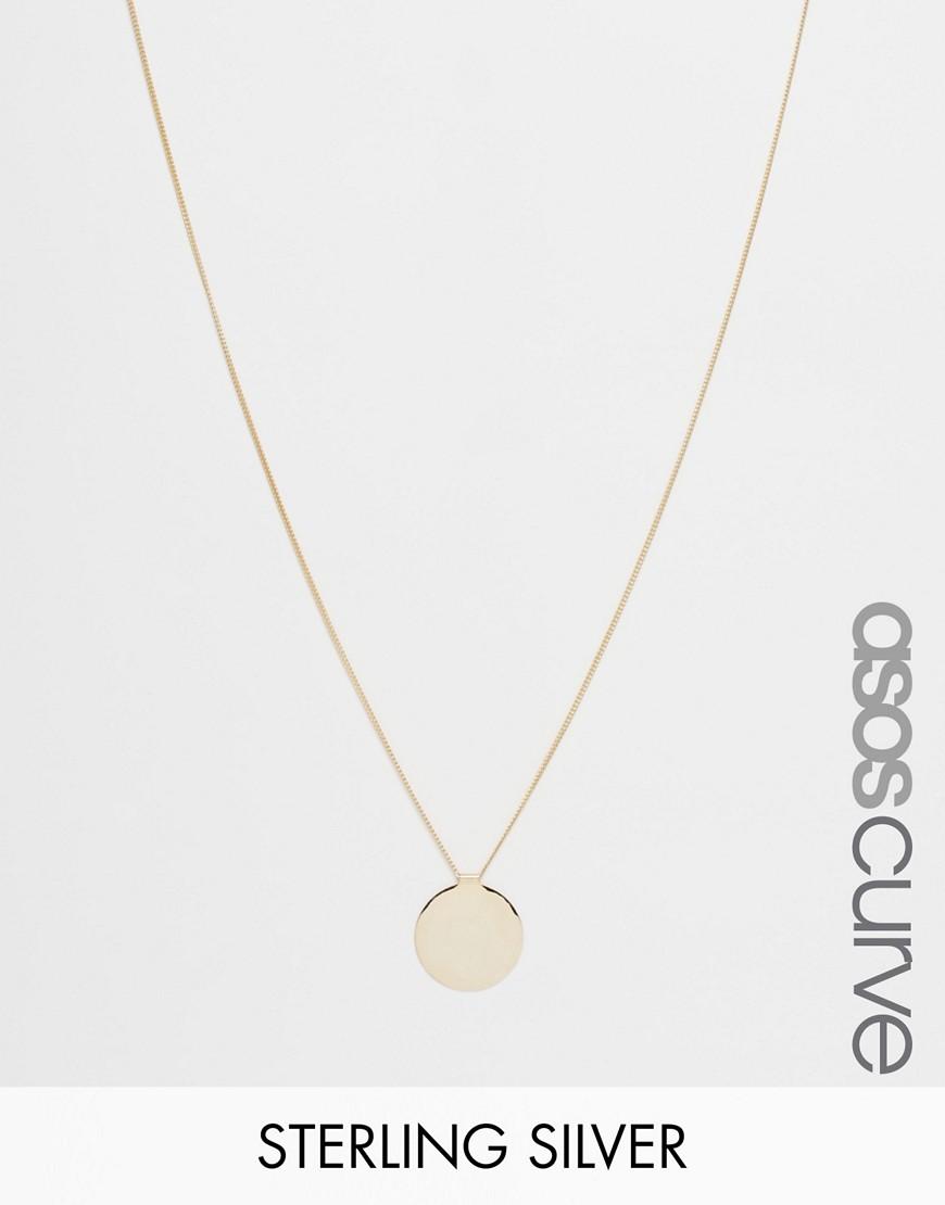 Collar de plata de ley chapado en oro con colgante de moneda de ASOS CURVE