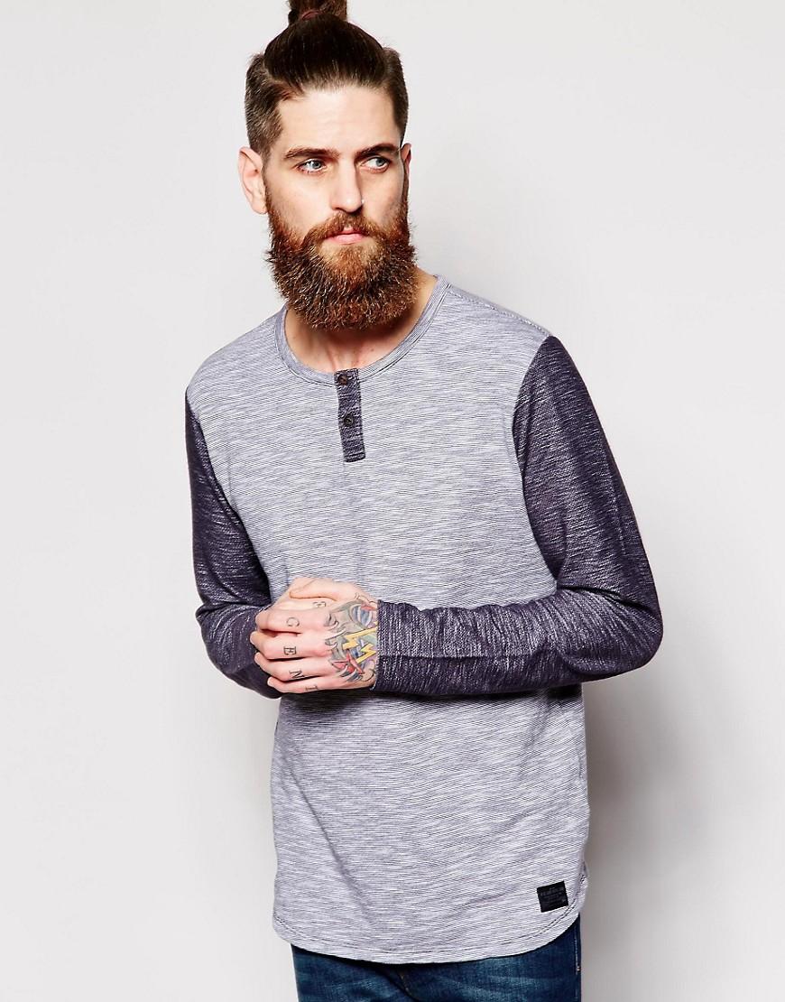 Camiseta henley de manga larga a rayas finas en lana polar con acabado flameado de Lee