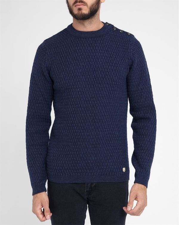 ARMOR LUX, Mottled Navy Button-Shoulder Cell Knit Sweater