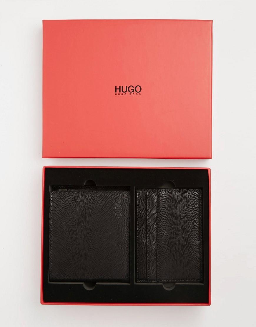 Set de regalo de tarjetero y cartera plegable de cuero Giaso de Hugo Boss