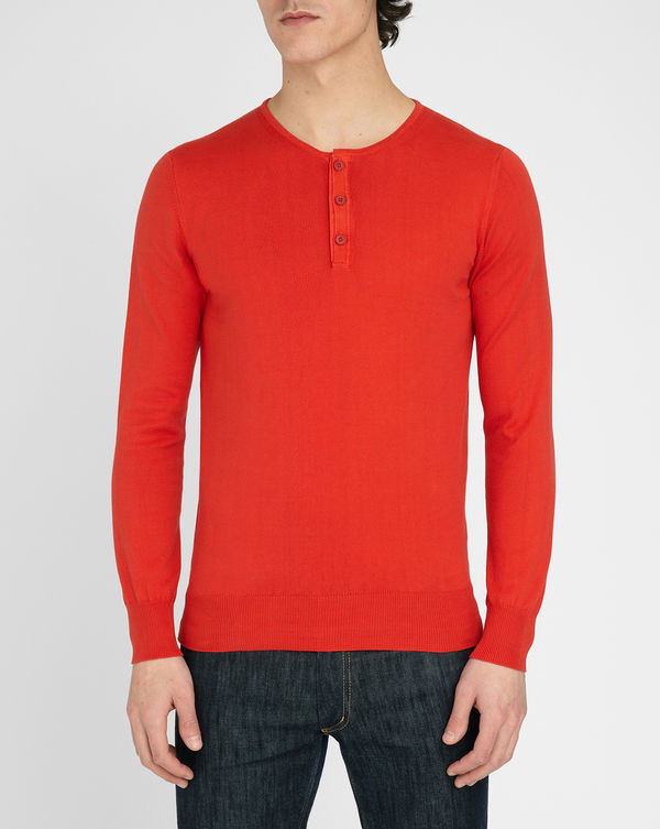 M.STUDIO, Terence red cotton sweater with Tunisian style neck