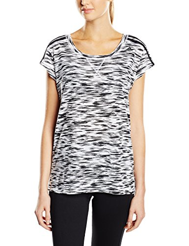 adidas ESS The Tee AOP - Camiseta para mujer, color blanco / negro, talla S