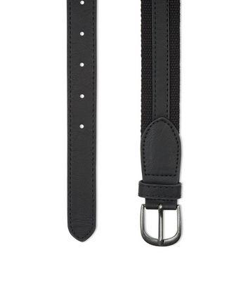 Black Woven Faux Leather Trim Belt