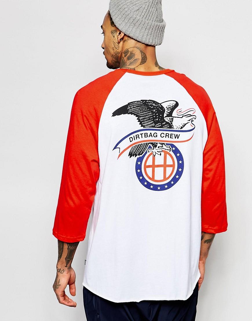 Camiseta de manga larga raglán con estampado en la espalda de HUF