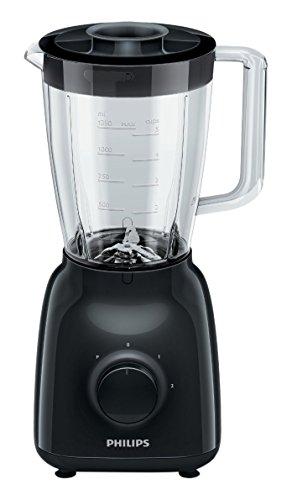 Philips HR2105/90 - Batidora Daily Collection 400 W, jarra de cristal de 1,5 l, 2 velocidades, color negra
