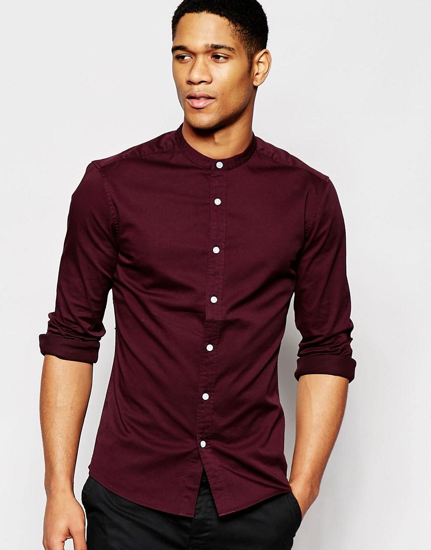 Camisa entallada de sarga burdeos con cuello henley y manga larga de ASOS