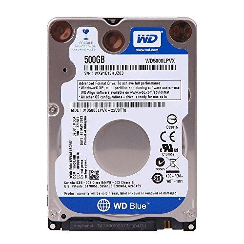 WD Blue - Disco duro para ordenadores portátiles de 500 GB (7 mm, 5400 rpm, SATA 3 Gb/s, 2.5