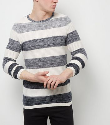 Jack and Jones Premium White Stripe Crew Neck Jumper