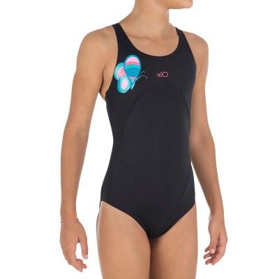 Bañador de natación una pieza niña Debo Wing Negro NABAIJI