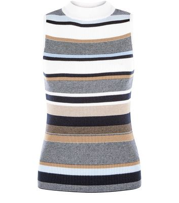 Blue Ribbed Stripe Funnel Neck Vest