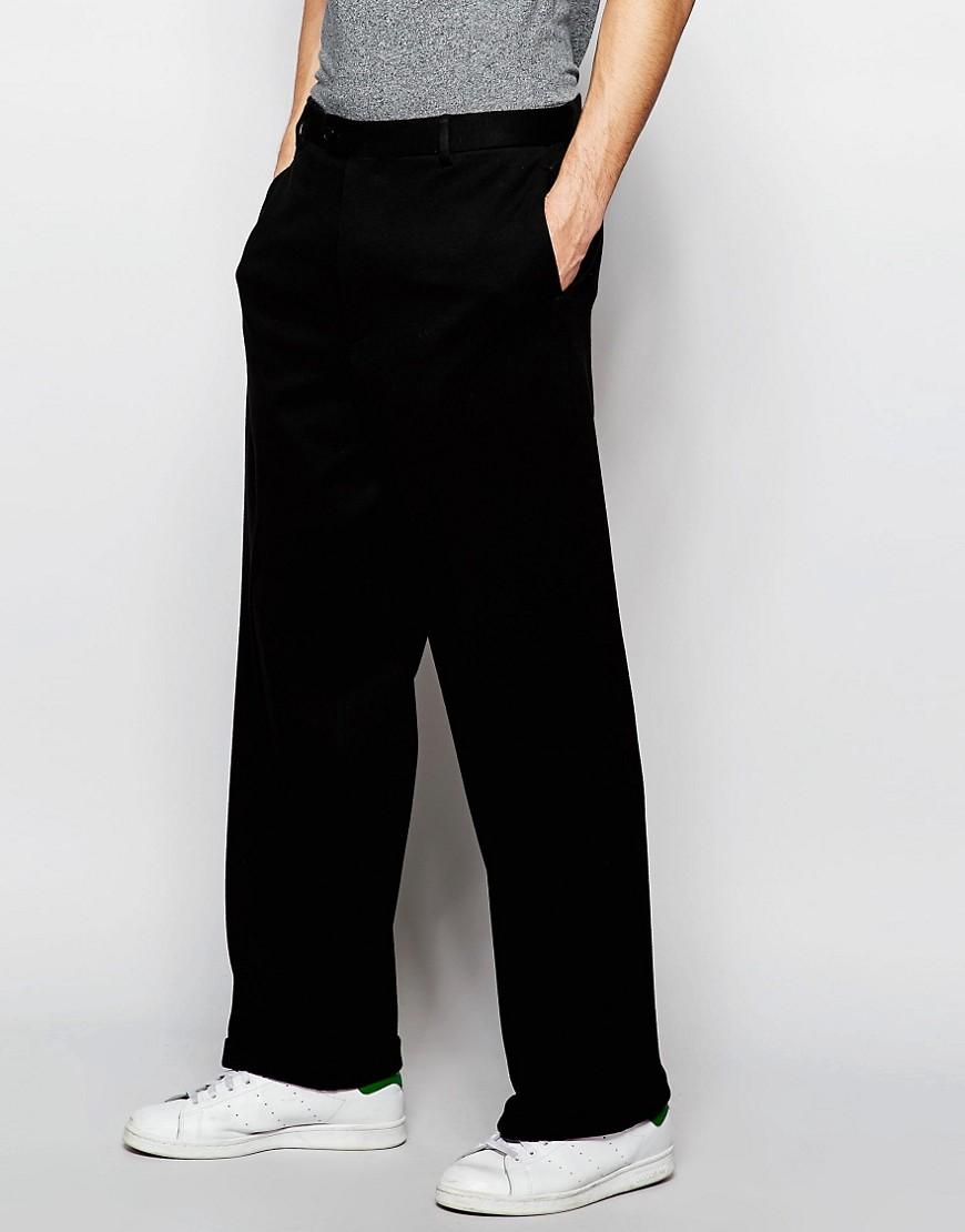 Pantalones de pernera ancha de punto negro de ASOS