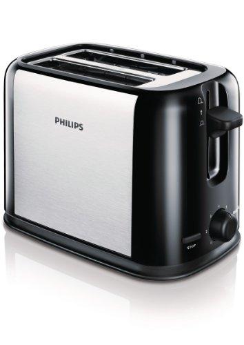 Philips HD2586/20 - Tostador Daily Collection negro/plata, 7niveles ajustables de control de tostado, botón de cancelar para detener el proceso de tostado en cualquier momento