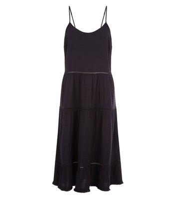 Black Crochet Trim Layered Midi Dress