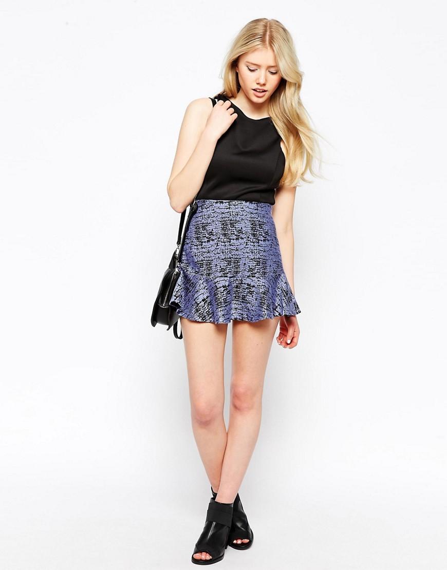 Falda con estampado de efecto arrugado de jacquard de Neon Rose