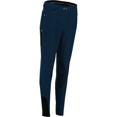 Pantalón equitación mujer PADDOCK TRENDY ligero badana silicona azul petróleo FOUGANZA