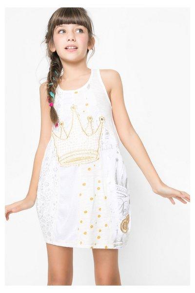 7a51f54b51 Desigual - Mujer - Vestido blanco con falda globo para niña - Augusta -  Size 13 14