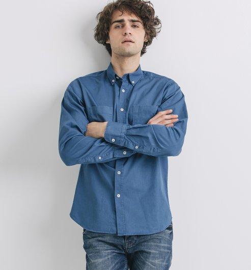 Camisa recta cuello americano