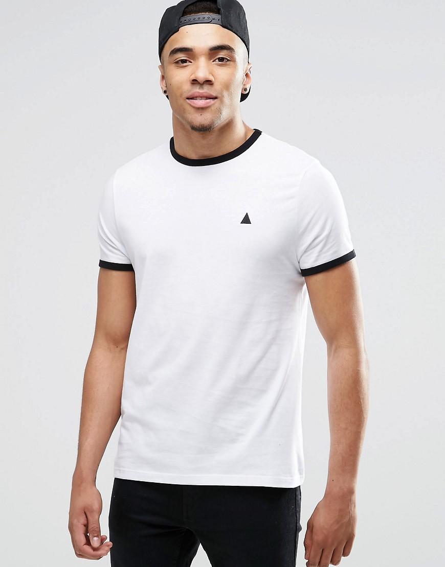 Camiseta en blanco y negro con ribetes en contraste y logo de ASOS