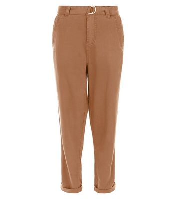 Tan D-Ring Belted Roll Up Trousers