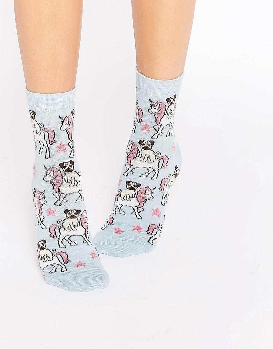 Calcetines tobilleros con diseño de carlino montando a unicornio de ASOS