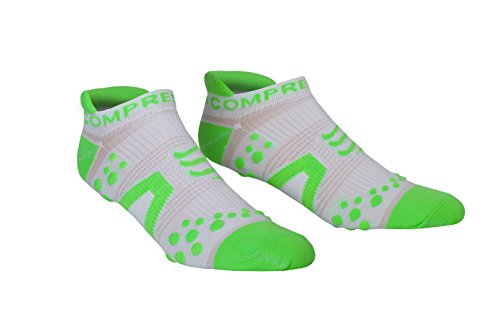 Compressport Pro Racing V2 Run Lo - Calcetines para mujer, color blanco / verde, talla FR : XXL (Taille Fabricant : T5)
