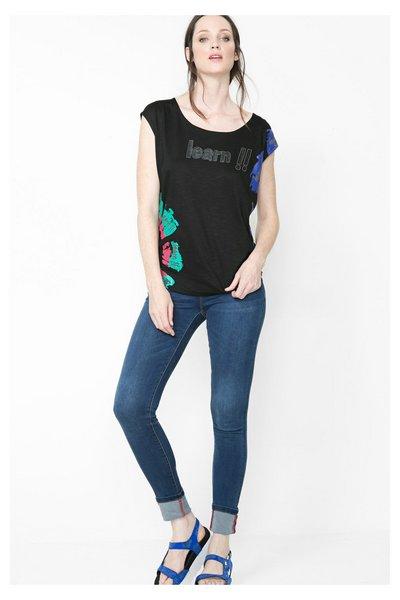 Desigual - Mujer - Camiseta negra de manga corta - Croacia - Size M