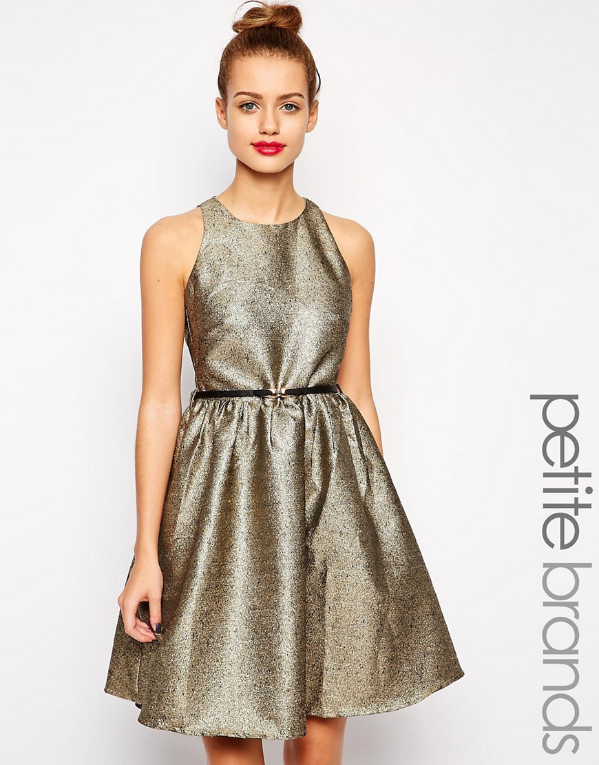 Vestido de jacquard dorado de Little Mistress Petite