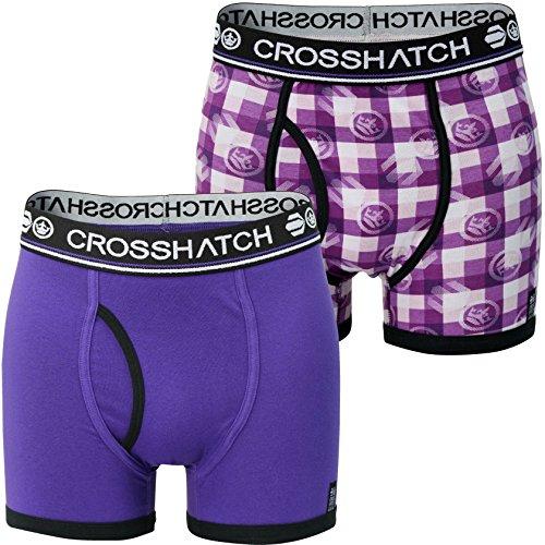 Crosshatch Men's Pack of 2 Pixflix Boxer Shorts (S) Purple Rain