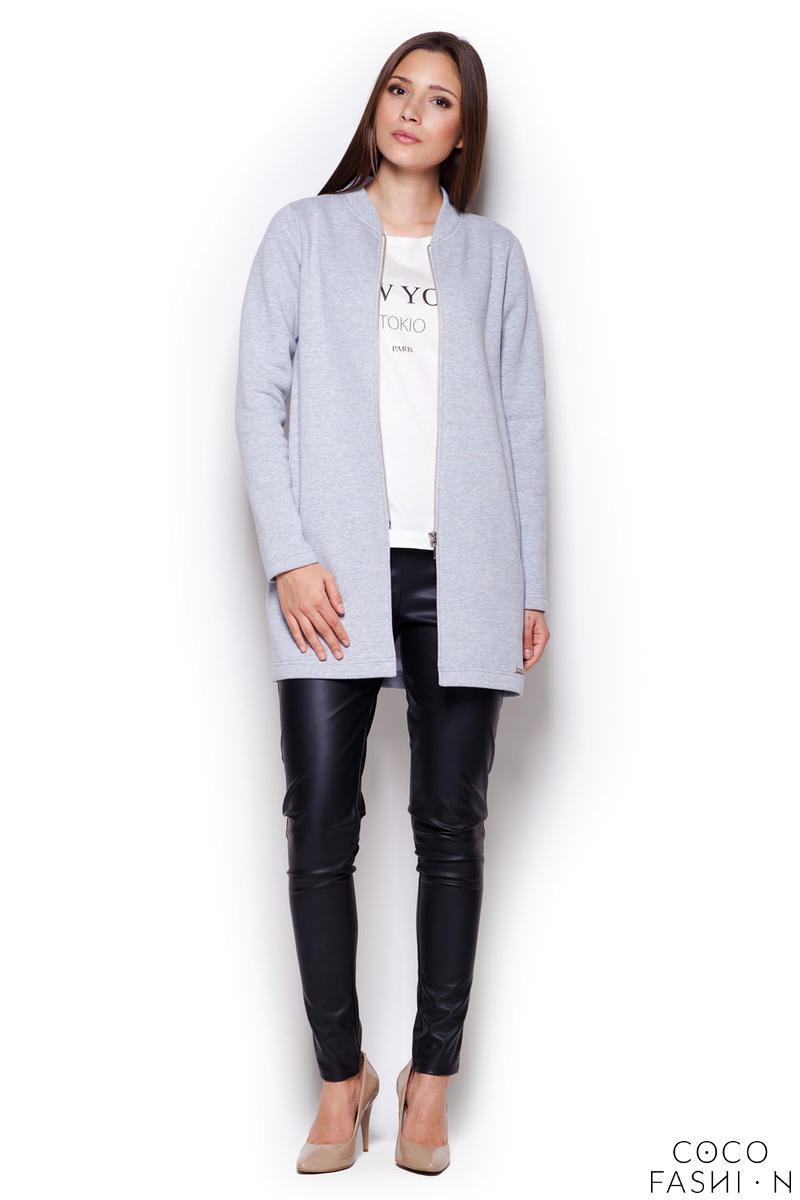 Grey Casual Zipper Closure Stand-up Collar Short Coat