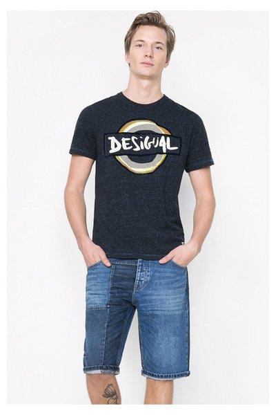 Desigual - Hombre - Camiseta azul jaspeada para hombre - Suburbano - Size L