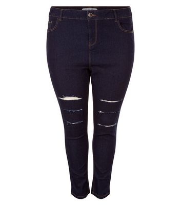 Curves Navy Ripped Knee Skinny Jeans