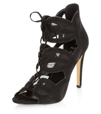 Wide Fit Black Mesh Cut Out Ghillie Heels