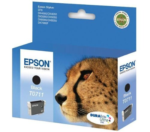 Epson DURABrite Ink Cartridge Black T0711 (Cheetah), 112 x 30 x 142 mm, 50 g
