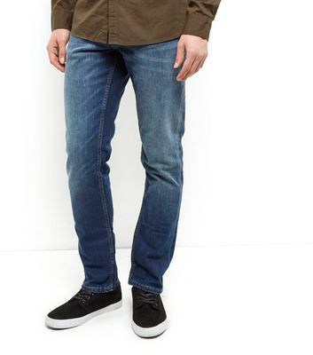 Blue Washed Straight Leg Jeans