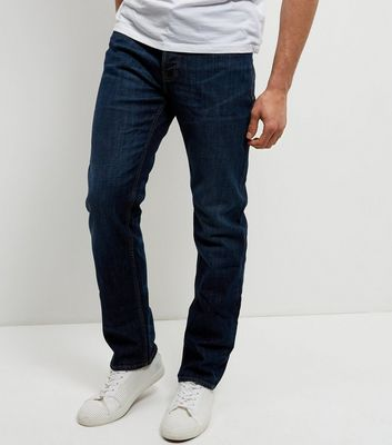 Navy Washed Straight Leg Jeans