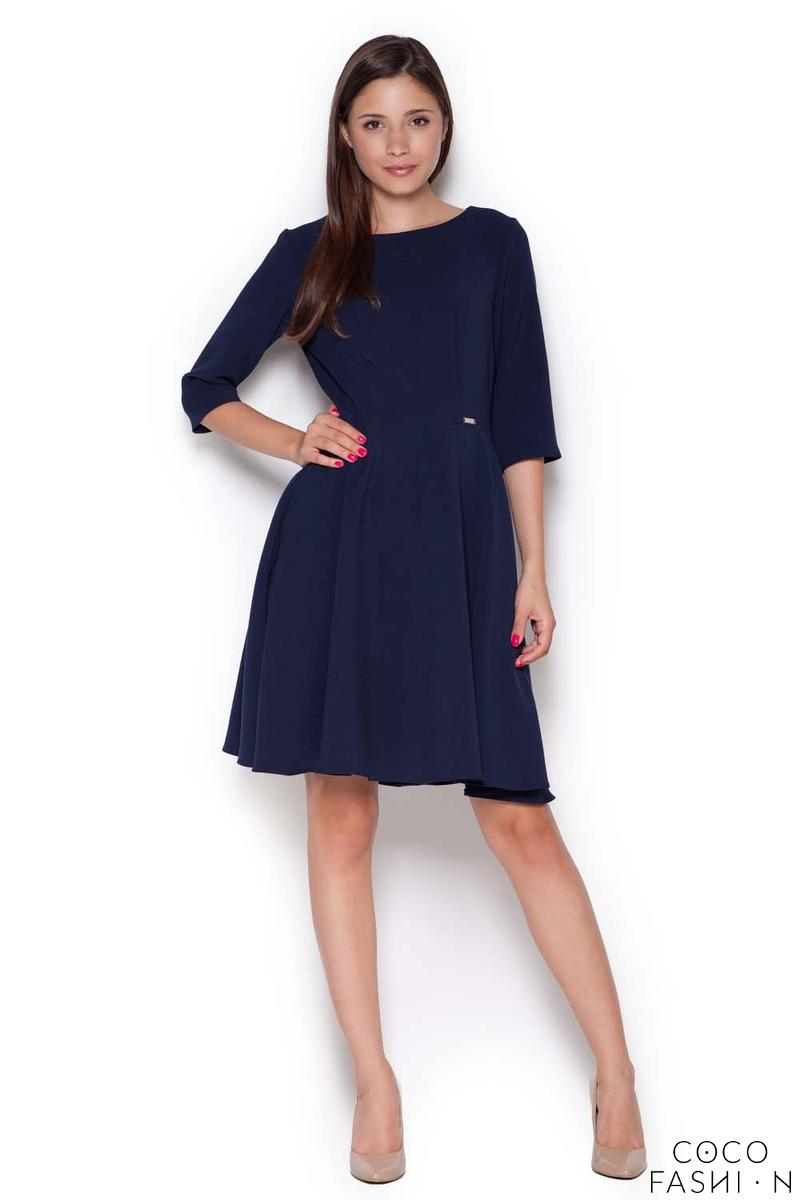 Dark Blue Classic Light Pleats Dress