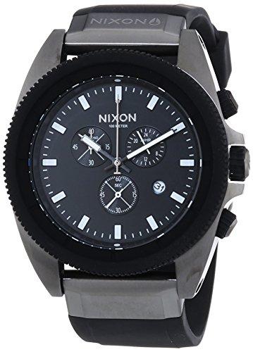 Nixon Rover Chrono Gunmetal Black - Reloj de cuarzo para hombre, correa de silicona color negro