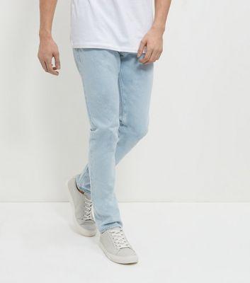 Pale Blue Bleached Slim Fit Jeans