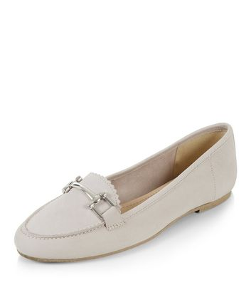 Grey Leather Metal Trim Loafers