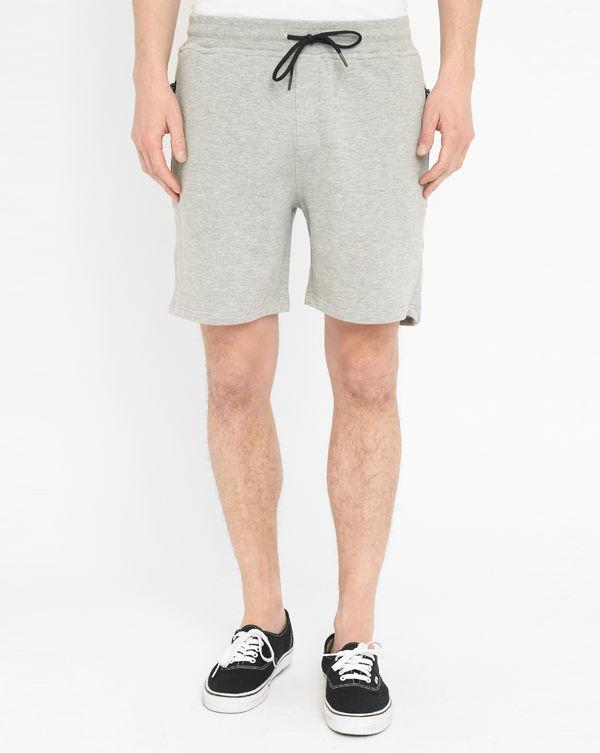 ELEVEN PARIS, Pantalón corto de punto Russel gris jaspeado con cremallera