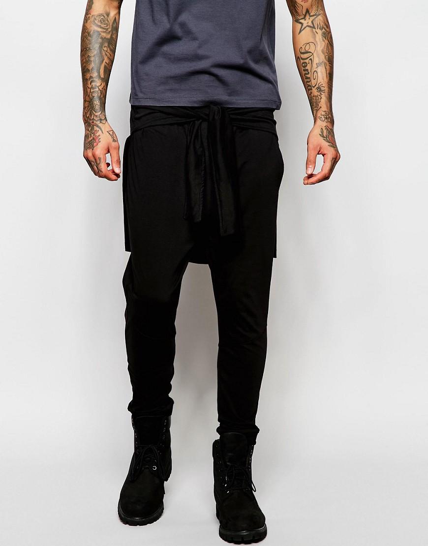 Pantalones de chándal caídos con lazo en la cintura de ASOS