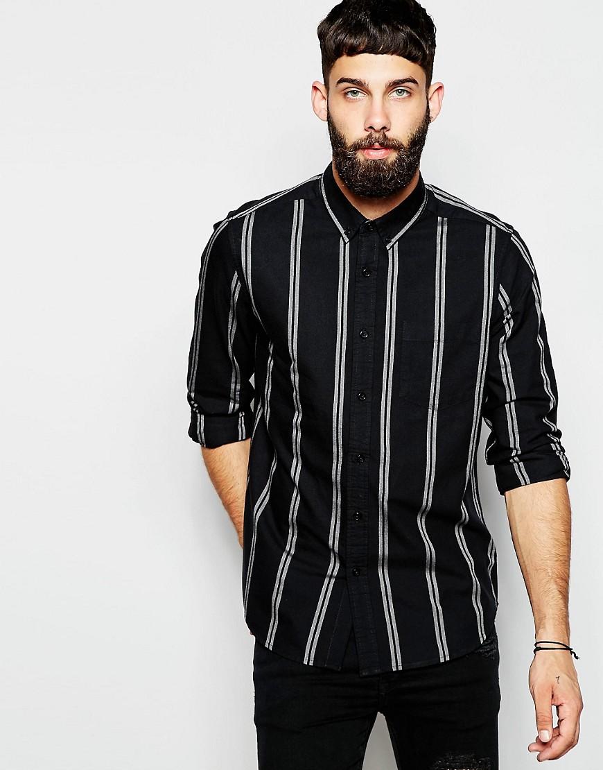 Camisa de marga a rayas con manga larga de ASOS