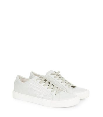 Cream Perforated Panel Trainers