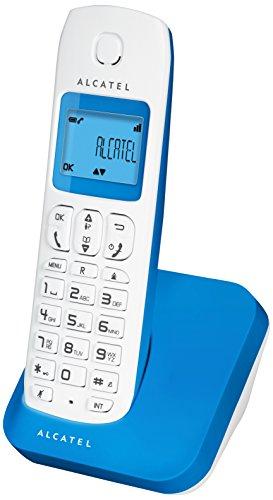 Alcatel E130 - Teléfono fijo, color blanco y azul