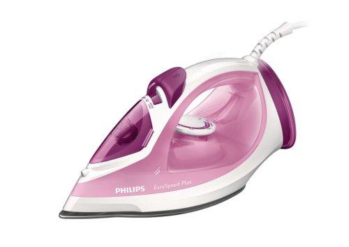Philips Easy Speed Plus - Plancha a vapor, 2100 W, suela de cerámica, color blanco y rosa