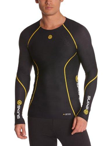 Skins A200 Long - Camiseta de triatlón para hombre, tamaño XXL, color negro