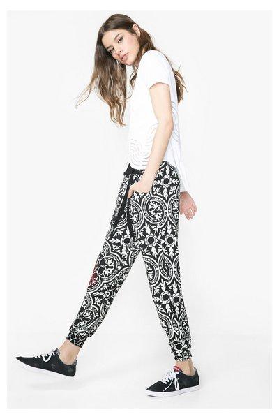 38b7da85a Desigual - Mujer - Pantalón fluido blanco y negro - Brigitte - Size ...